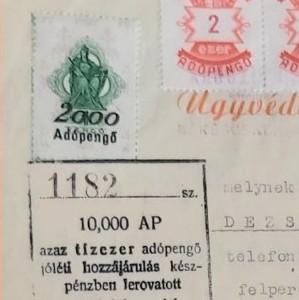 Adó-, illeték- és kötelezettségjegyek iratokon az adópengő korszakban / Notes on collection of taxes, levy and duties