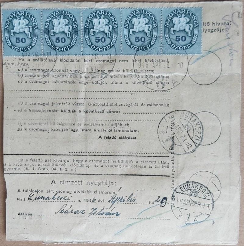 A Posta működése az adópengő-korszakban / Postal services